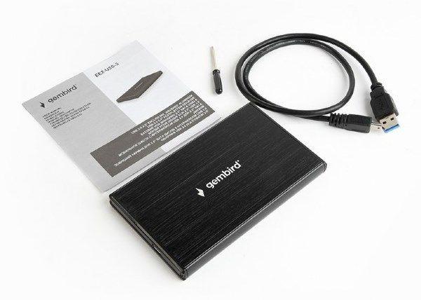 GEMBIRD EE2-U3S-3  USB 3.0 Externo kuciste za 2.5\'' SATA hard diskove, bruseni aluminijum crni