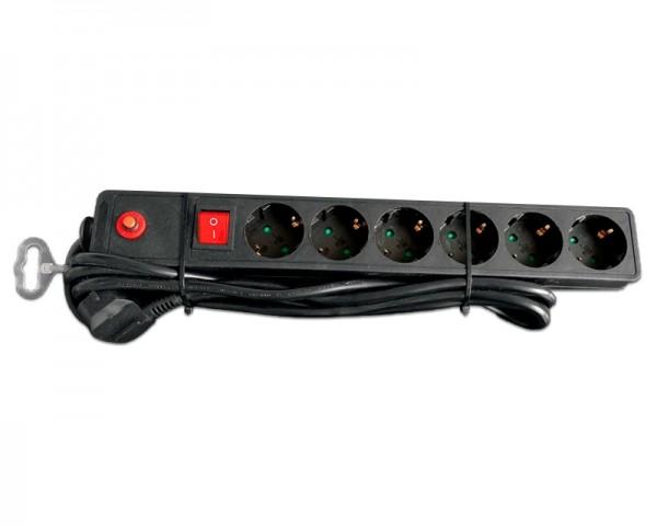 E-GREEN Kabl naponski produžni 6 x šuko 3m sa prekidacem i zaštitom (crni)