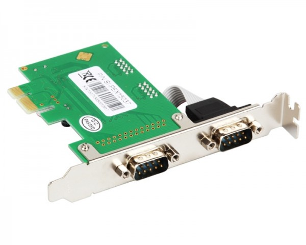 E-GREEN PCI Express kontroler 2-port (RS-232,DB-9)