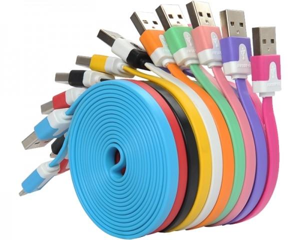 FAST ASIA Kabl USB A - USB Micro-B MM 1m flat crni